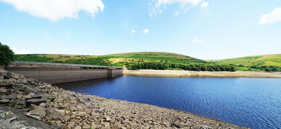 A view of Meldon Reservoir and Meldon Dam in Devon.