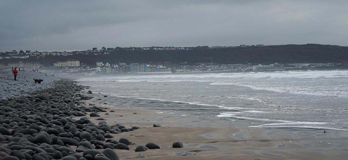 The beach, sea and coastline at Westward Ho! in north Devon