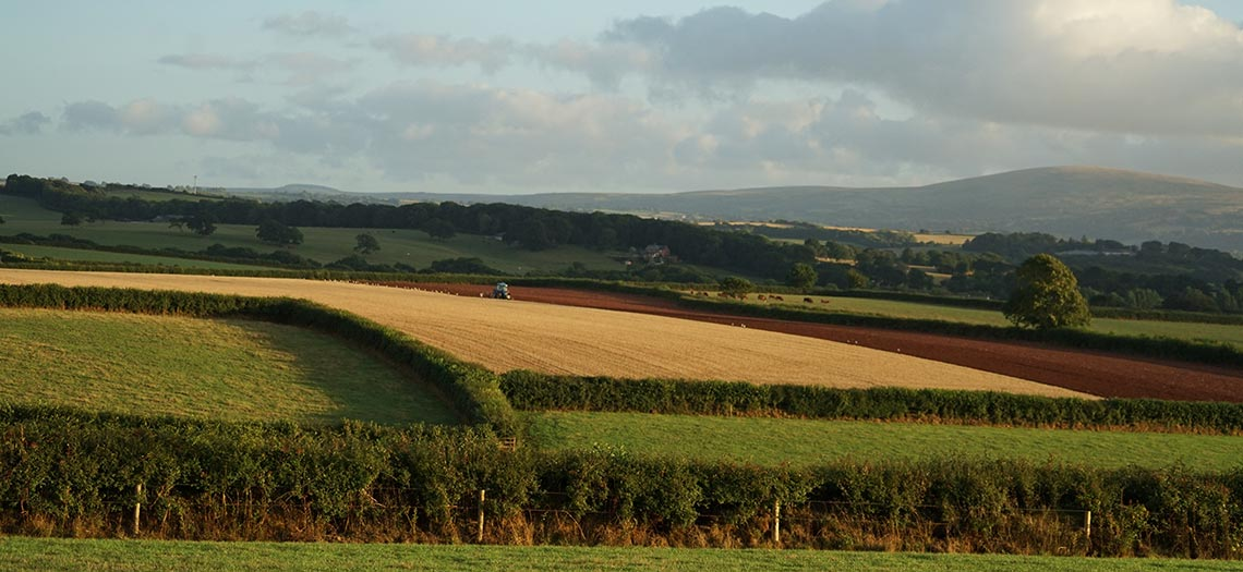 Views of countryside surrounding North Tawton in mid Devon.
